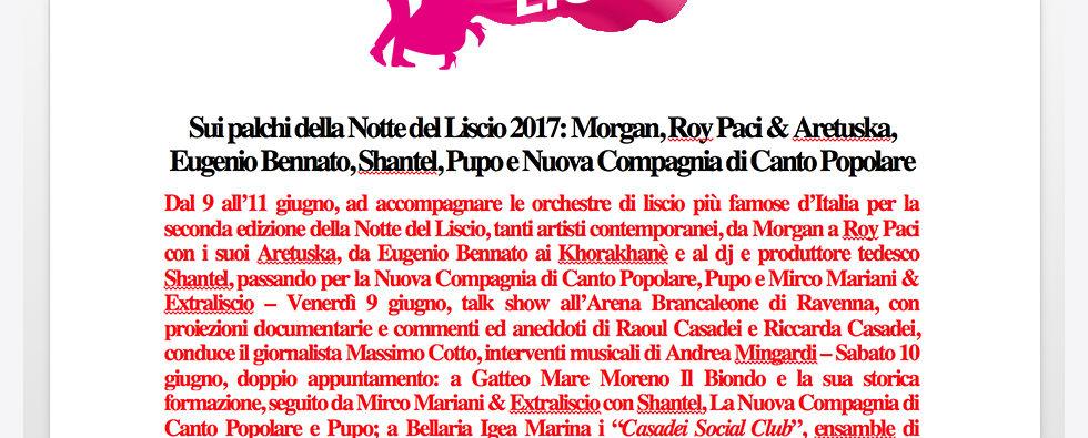Morgan, Roy Paci & Aretuska, Eugenio Bennato, Shantel, Pupo, Canto Popolare…